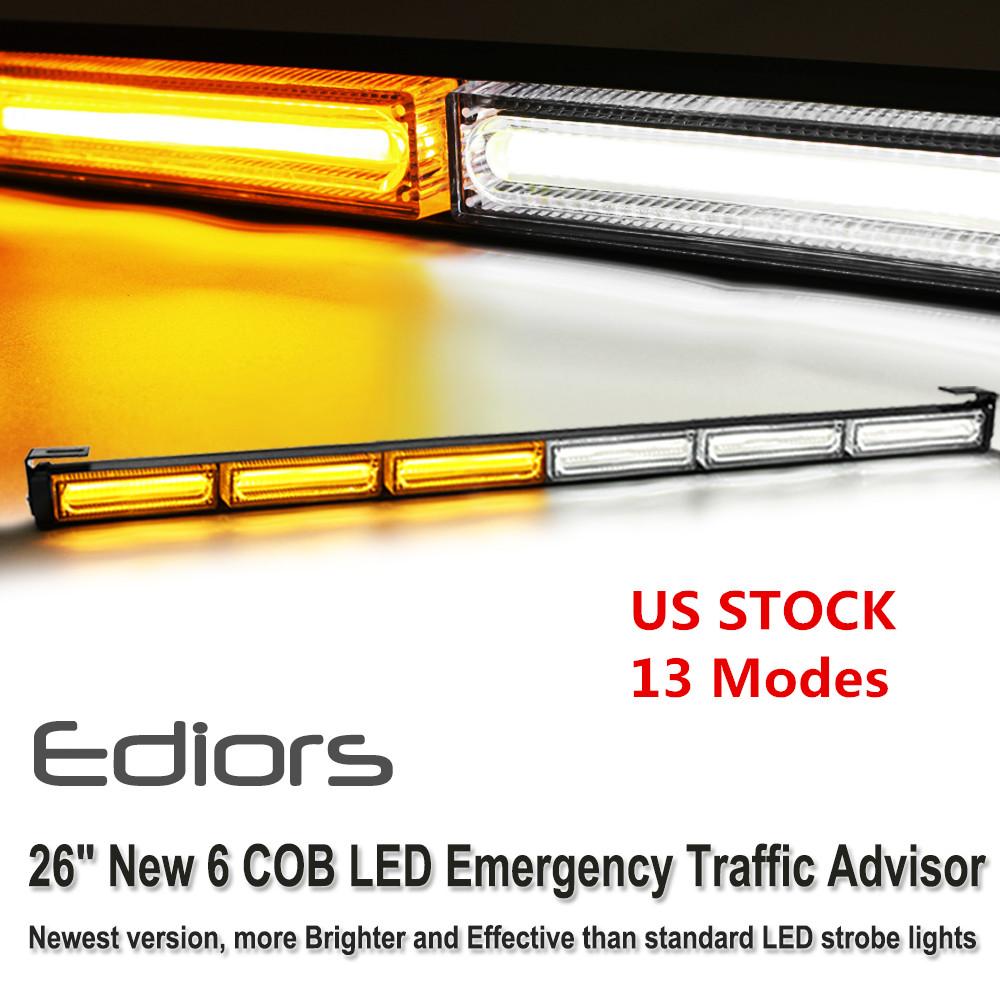 Yellow 60W COB LED Traffic Advisor Emergency Strobe Beacon Warning Light Bar C97