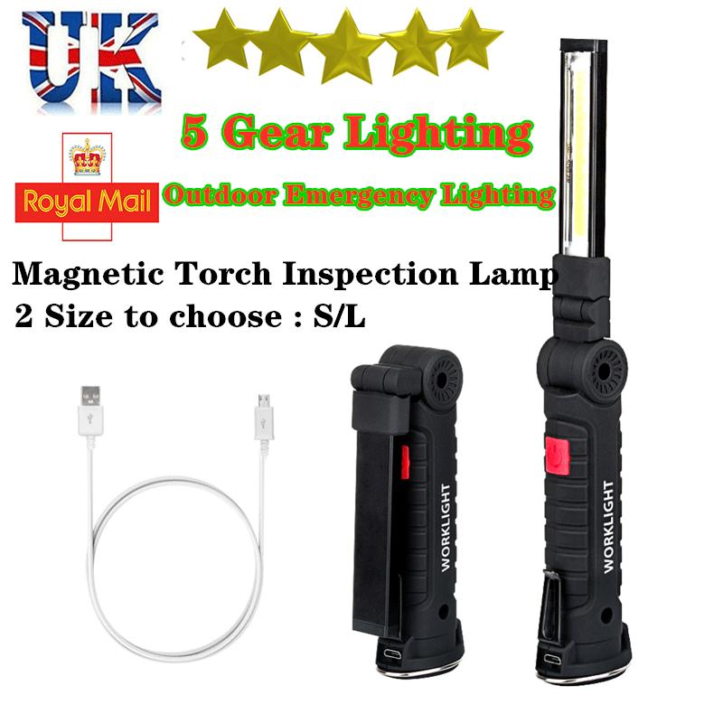 1-10Pcs Rechargeable COB LED Work Light Mechanic Inspection Lamp Hand Torch UK