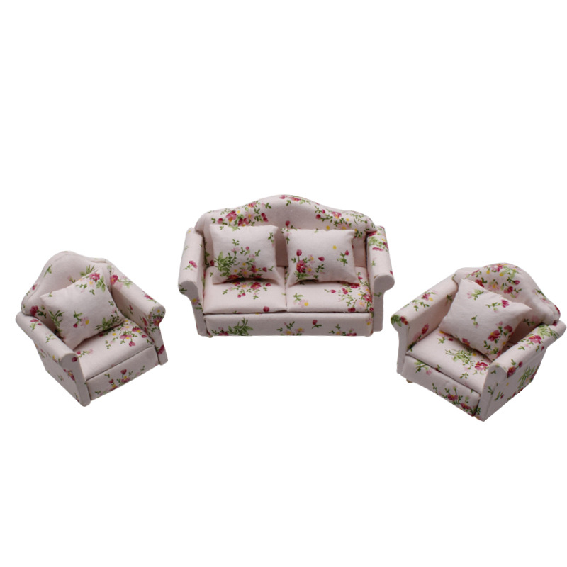 1//12 Dollhouse Miniature Single Sofa Loveseat Couch for Living Room Furniture