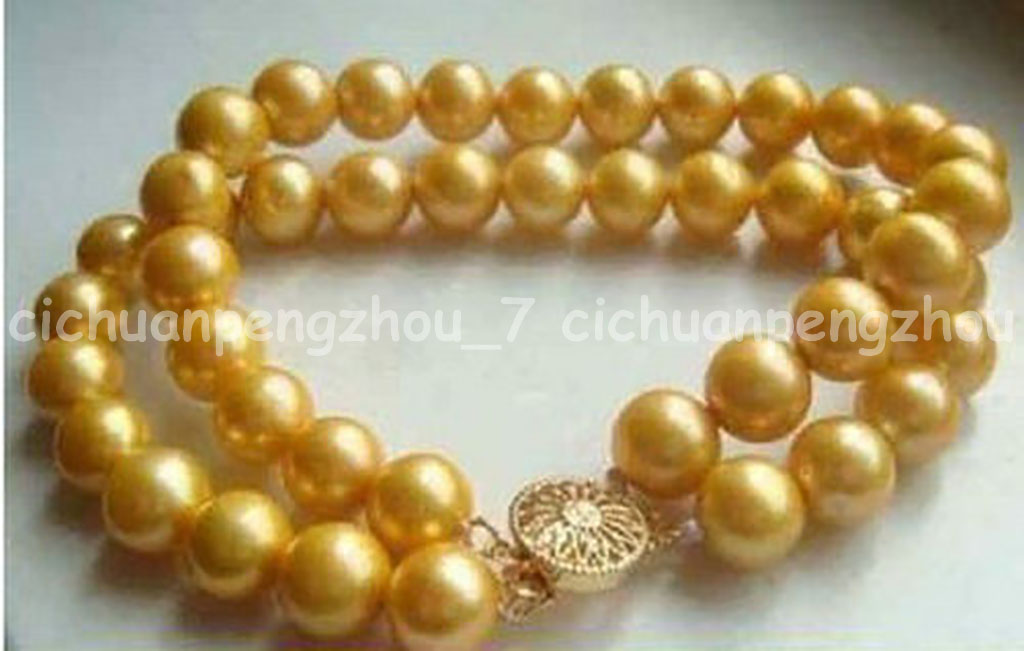 """3 rows 7.5-8/"""" 8-9MM AAA SOUTH SEA GENUINE WHITE PEARL BRACELET 14k Yellow Gold"""