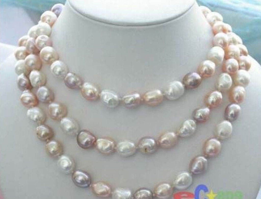 """Natural Multicolor 8-9mm Baroque Freshwater 40/"""" Long Pearl Necklace for Women"""