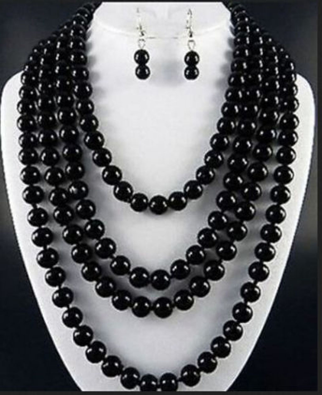 """Beautiful Handmade 8mm Natural Black Agate Onyx Round Beads Necklace 50/"""" Long"""