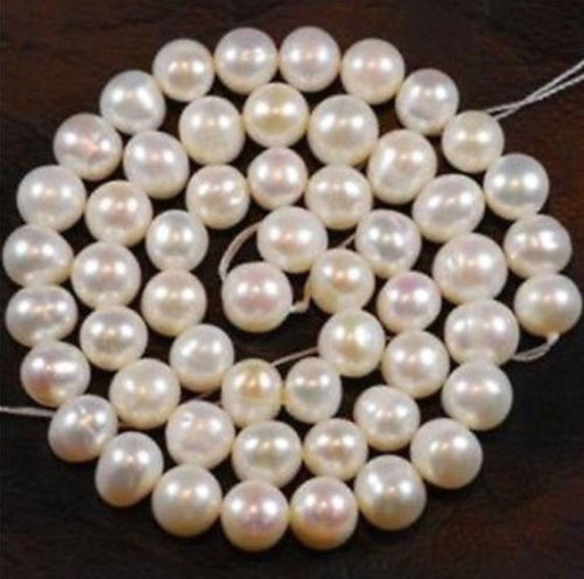 """8-9mm White Freshwater Cultured Pearl Loose Bead 15/"""""""