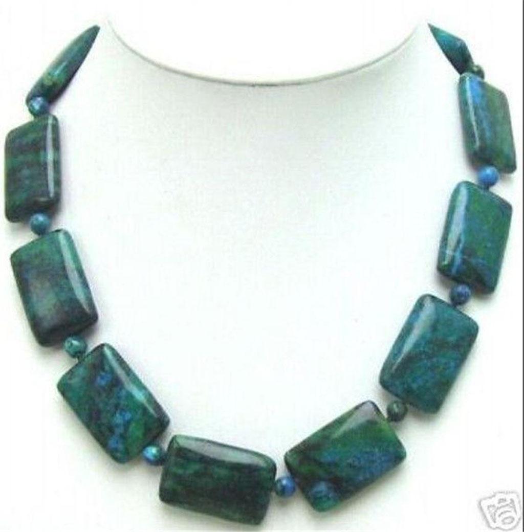 "Charming! 13x18mm Azurite Gemstone Phoenix Stone Oval Beads Necklaces 18/"""