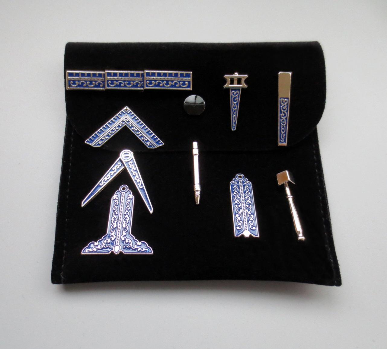 Masonic Miniature Working Tools Set With Black Velvet Bag