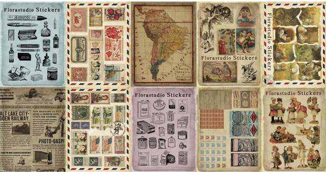 10Pcs Vintage Paper Stickers Scrapbooking Album Diary Craft Decor Souvenir DIY