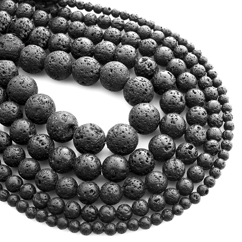 Natural Stone Black Volcanic Lava Gemstone Round Beads 15.5/'/' 4mm 6mm 8mm 10mm