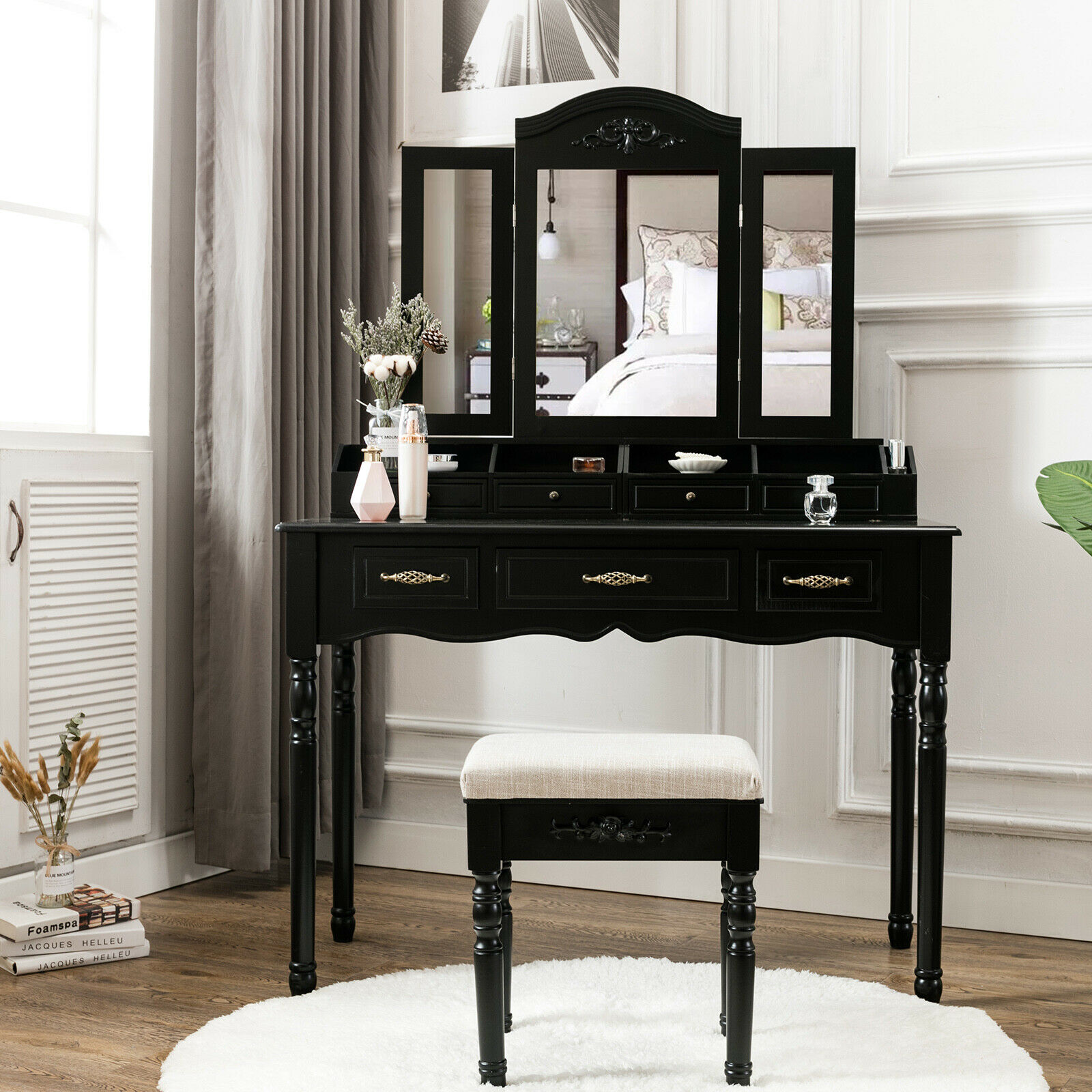Black Vanity Makeup Table Set Folding Mirror 7 Drawers W ...