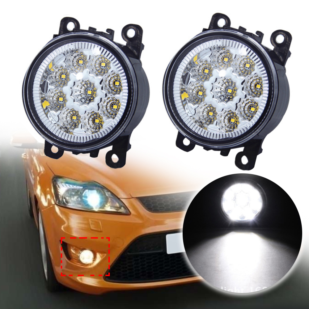 For Ford Focus Honda Subaru 9LED Round Front Fog Lamp DRL