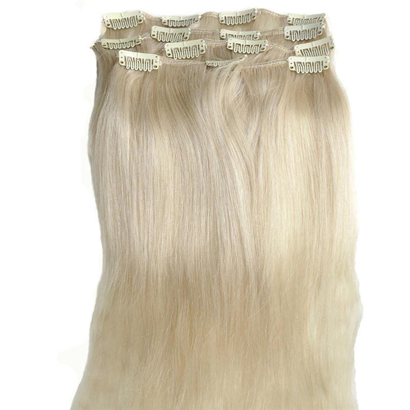 7pcsset Platinum Blonde Straight Clip In Remy Human Hair Extensions
