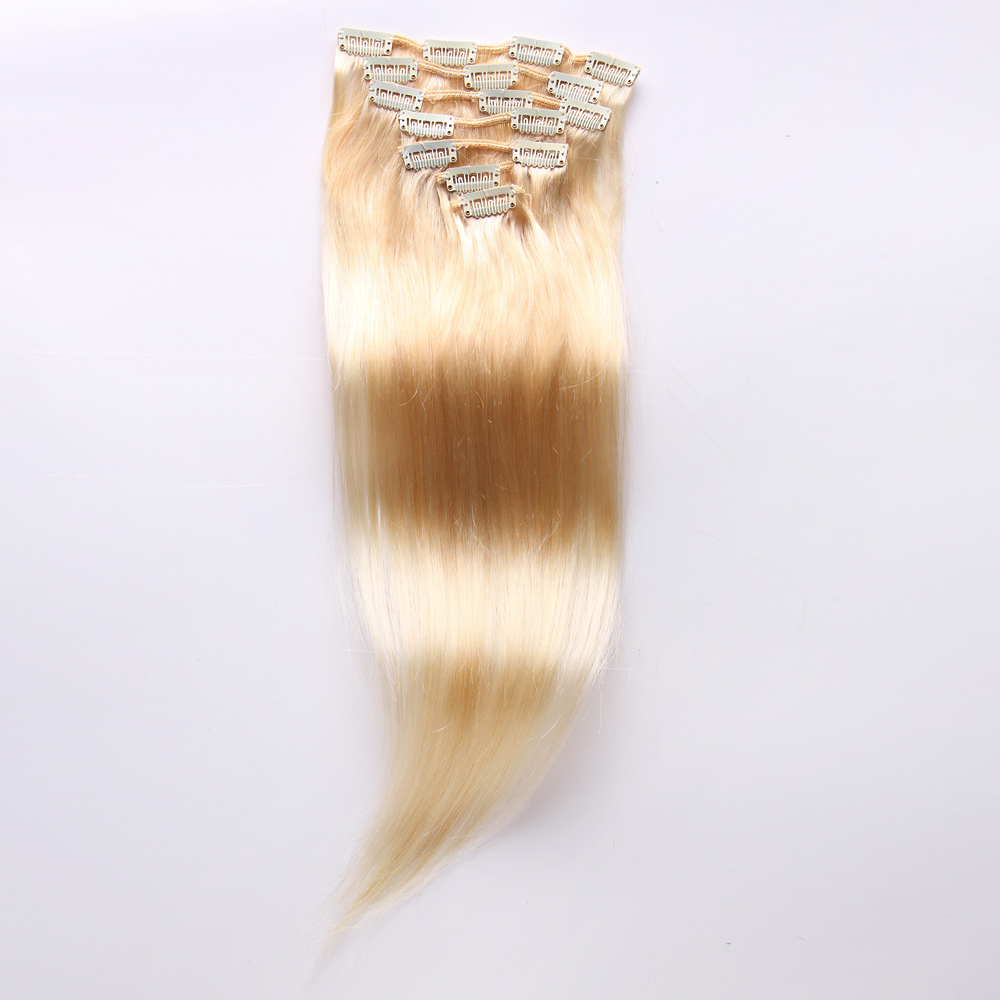 Women Thick Long 30inch 613 Blonde Straight Clip In 100human Hair