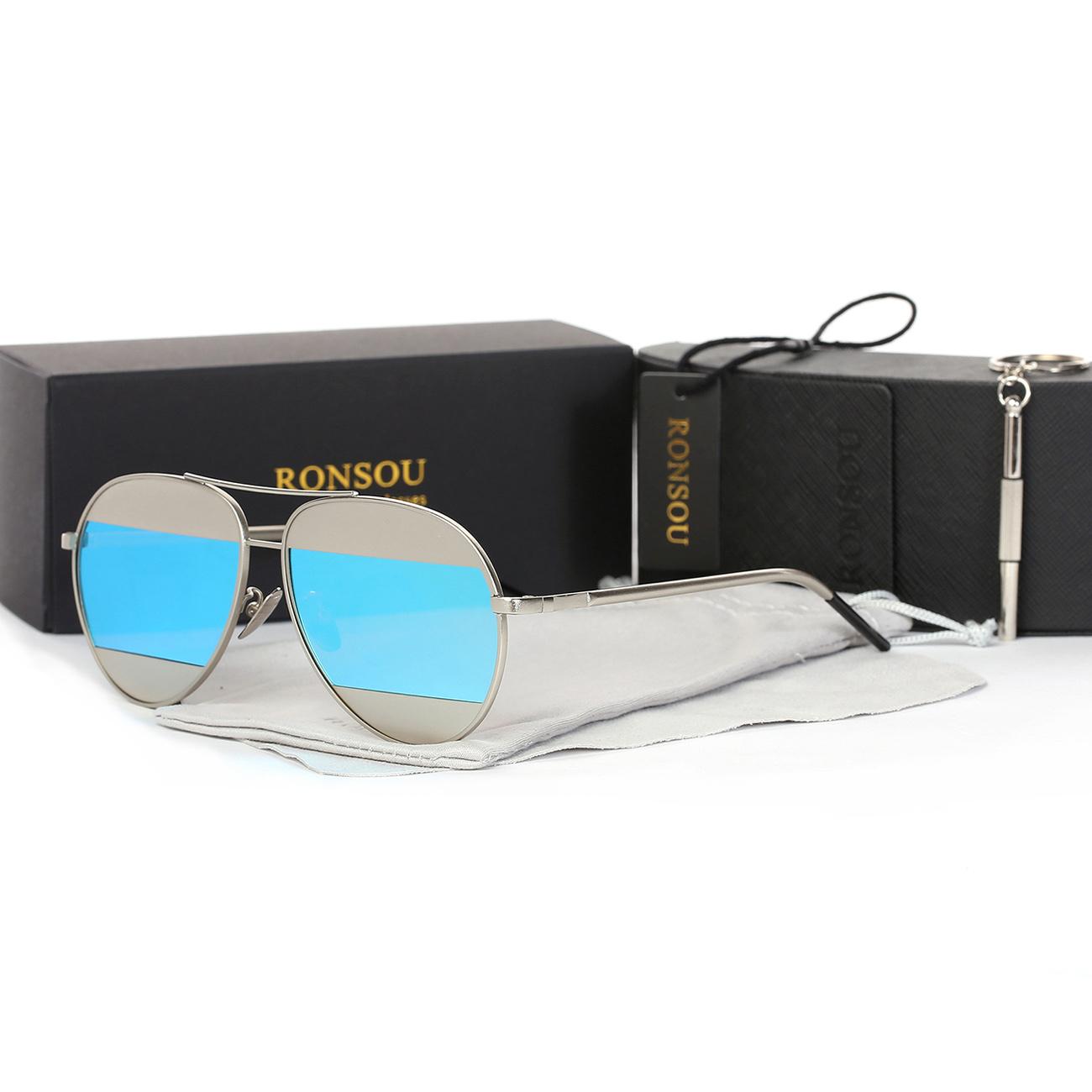 414b9c2efce Ronsou Stylish Aviator Polarized Sunglasses Metal Frame Glasses silver blue  lens