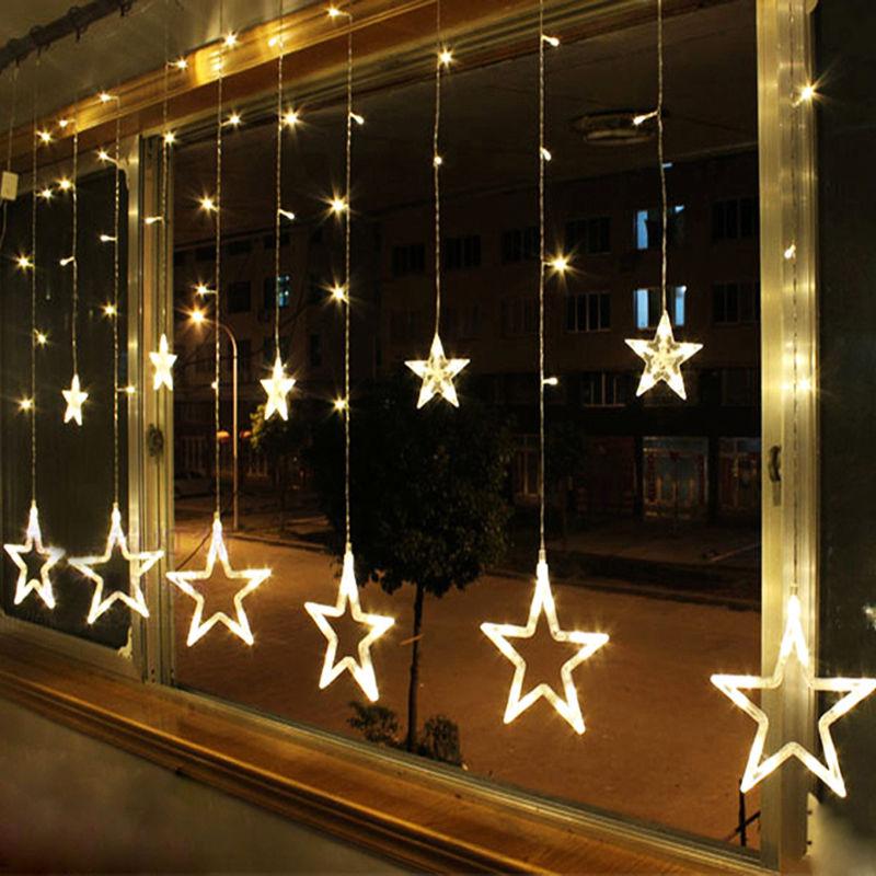 138 Led 12 Hanging Stars Fairy String Lights Indoor