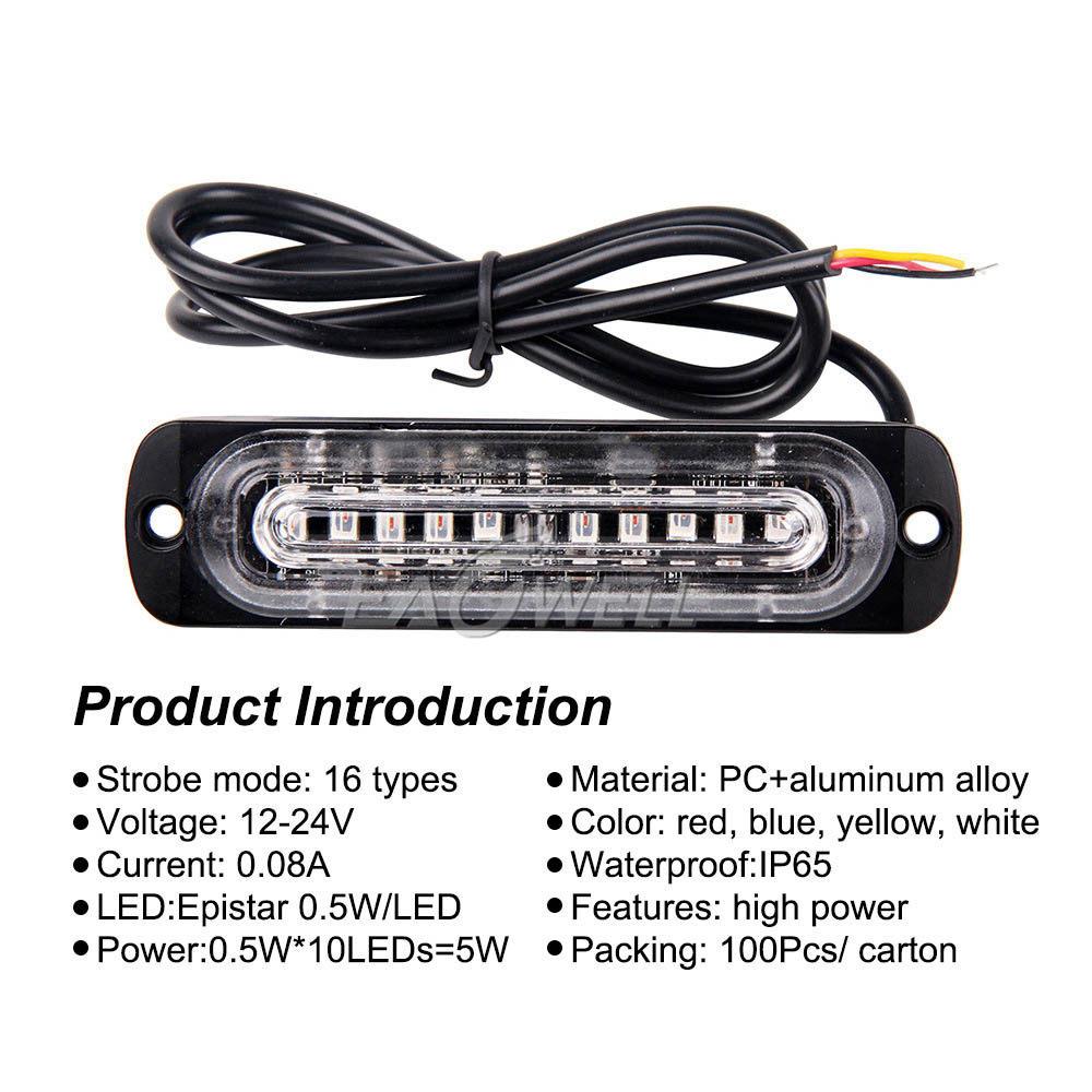 1pcs amber  white 10 led car emergency beacon warning