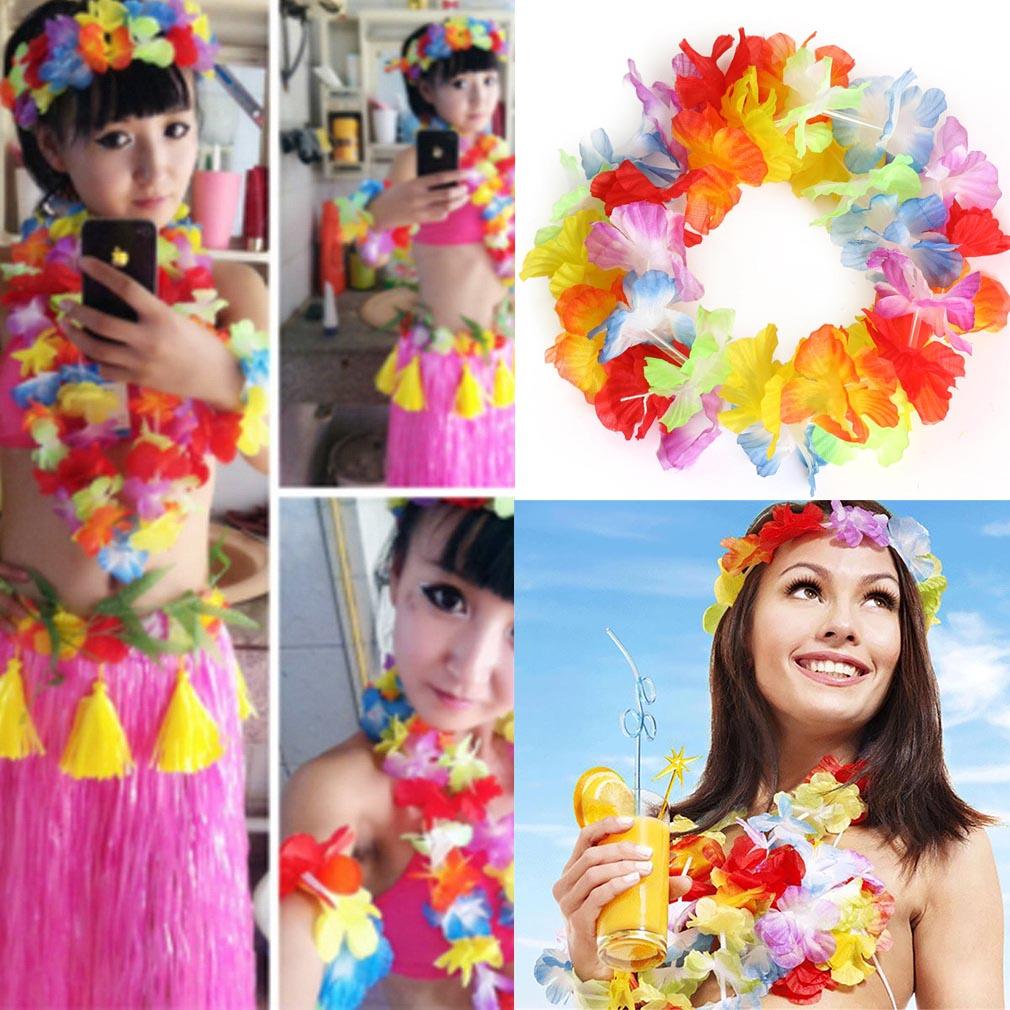 Tropical beach luau hawaiian tropical leis flower garland fancy 12pcs hawaiian tropical leis flower garland fancy dress necklace party hen night izmirmasajfo