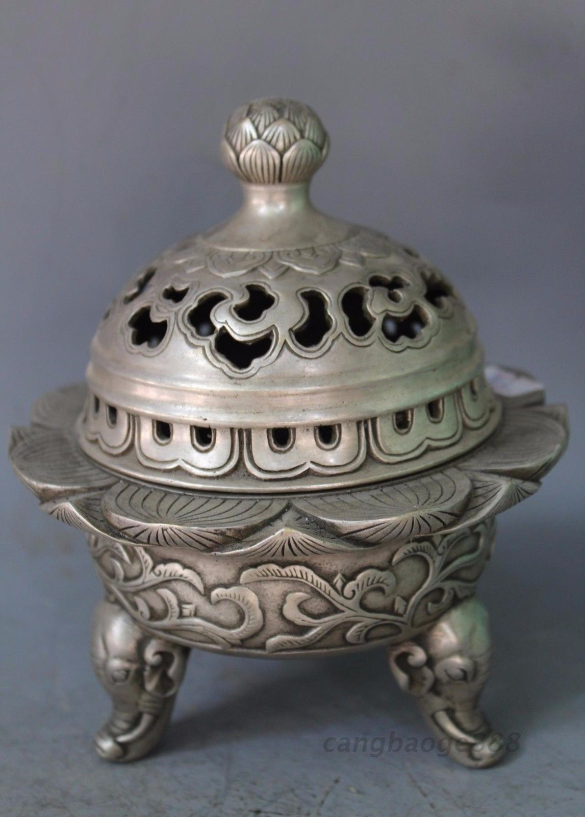 China Silver Handwork Carved Lotus Flower Censer Elephant Incense