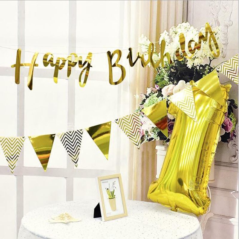 Happy Birthday Banner Bunting Hanging Garland Party Decor Rose Gold//Gold//Silver