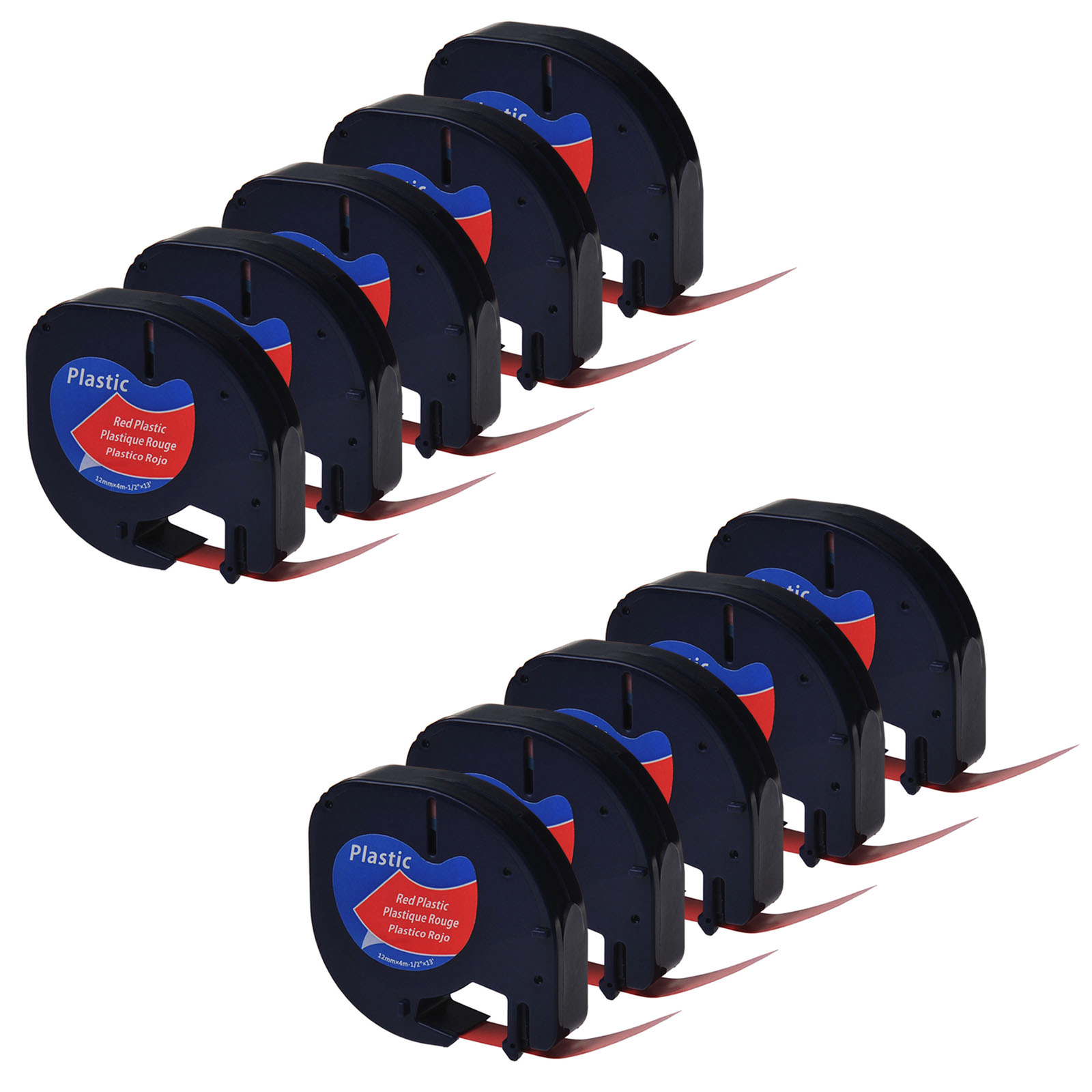 6PK Plastic Label Tape fit for DYMO Letra Tag QX50 LT 91333 12mm Black on Red
