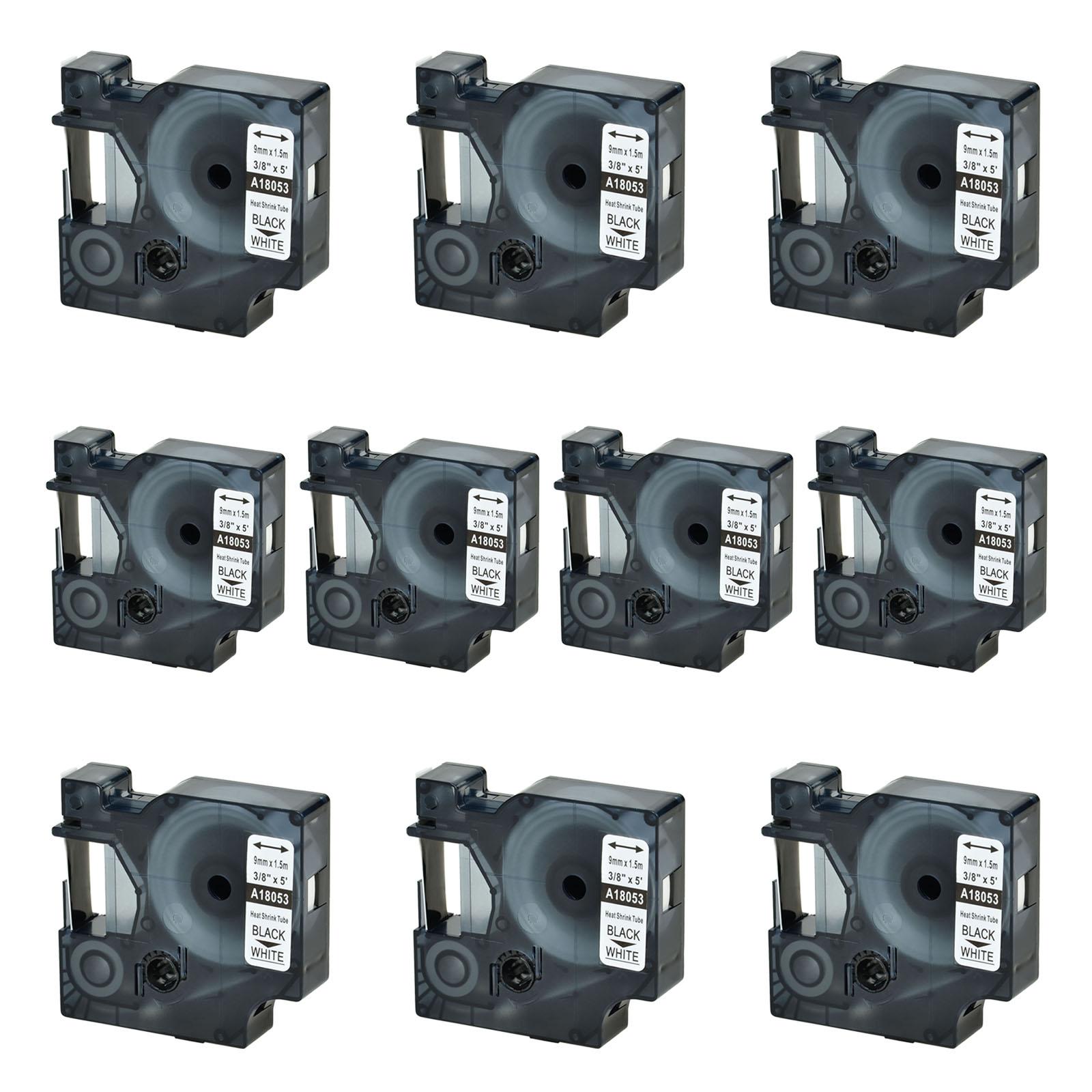 10x 18053 Schrumpfschlauch Industriel Etikettenband für DYMO Rhino 4200 5200 9mm