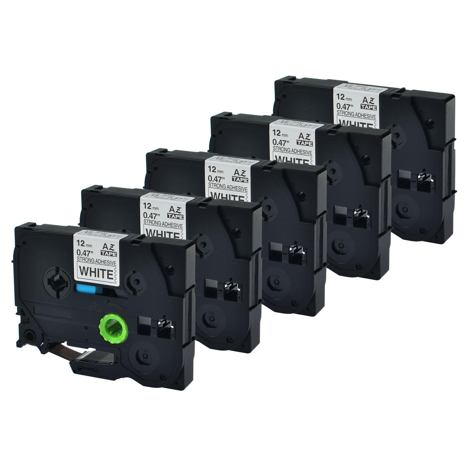 "3PK TZeS231 TZ S231 Black on White Label Tape For Brother P-Touch PT-6100 1//2/"""