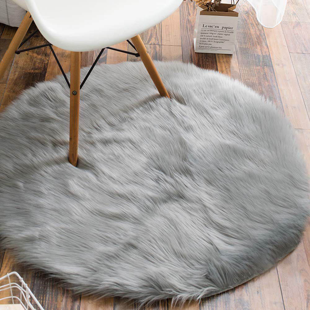 Fantastic Details About Soft Round Faux Fur Area Rugs Floor Mat Sofa Chair Cover F Bedroom Living Room Creativecarmelina Interior Chair Design Creativecarmelinacom