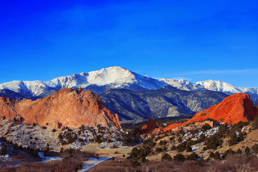 Pikes Peak Garden Of The Gods Colorado Mountain Landscape Art Poster Hd Print Ebay
