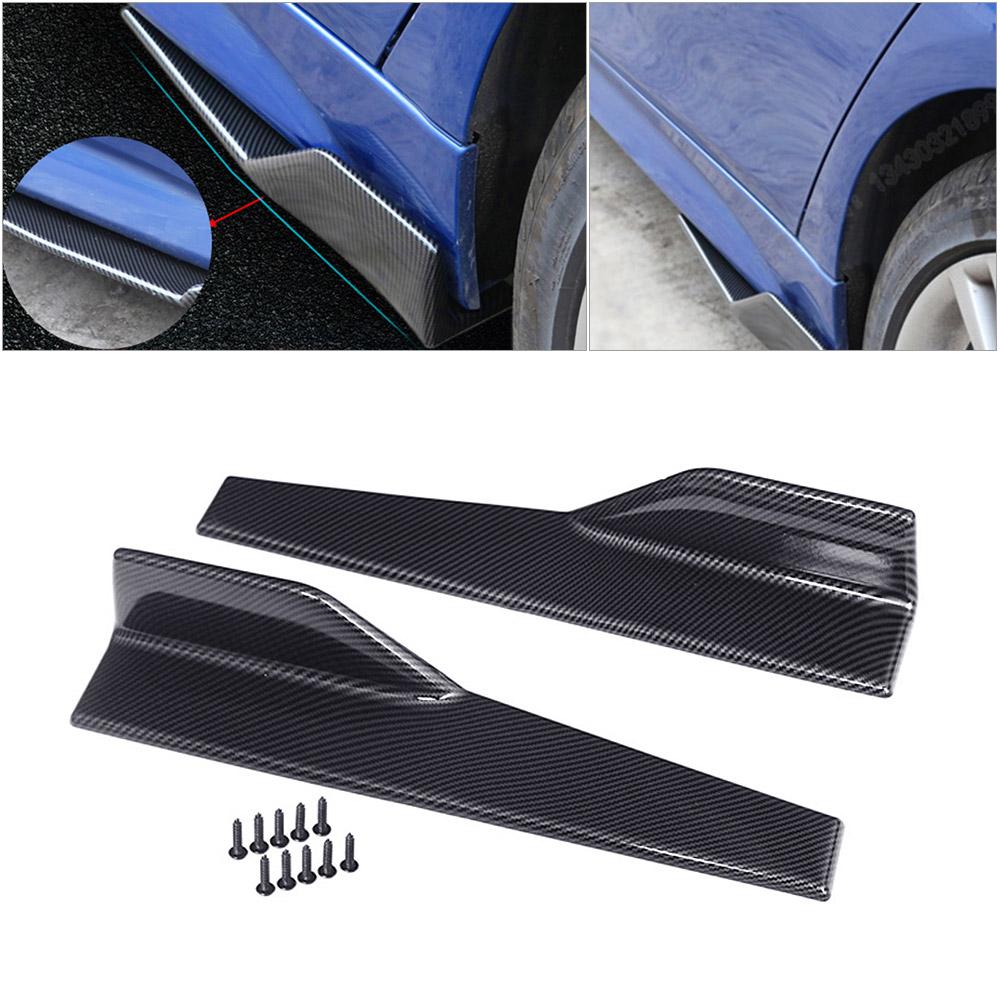 2PCS 45CM Carbon Fiber Car Side Anti-scratch Skirt Spoiler Rocker Splitter Kits