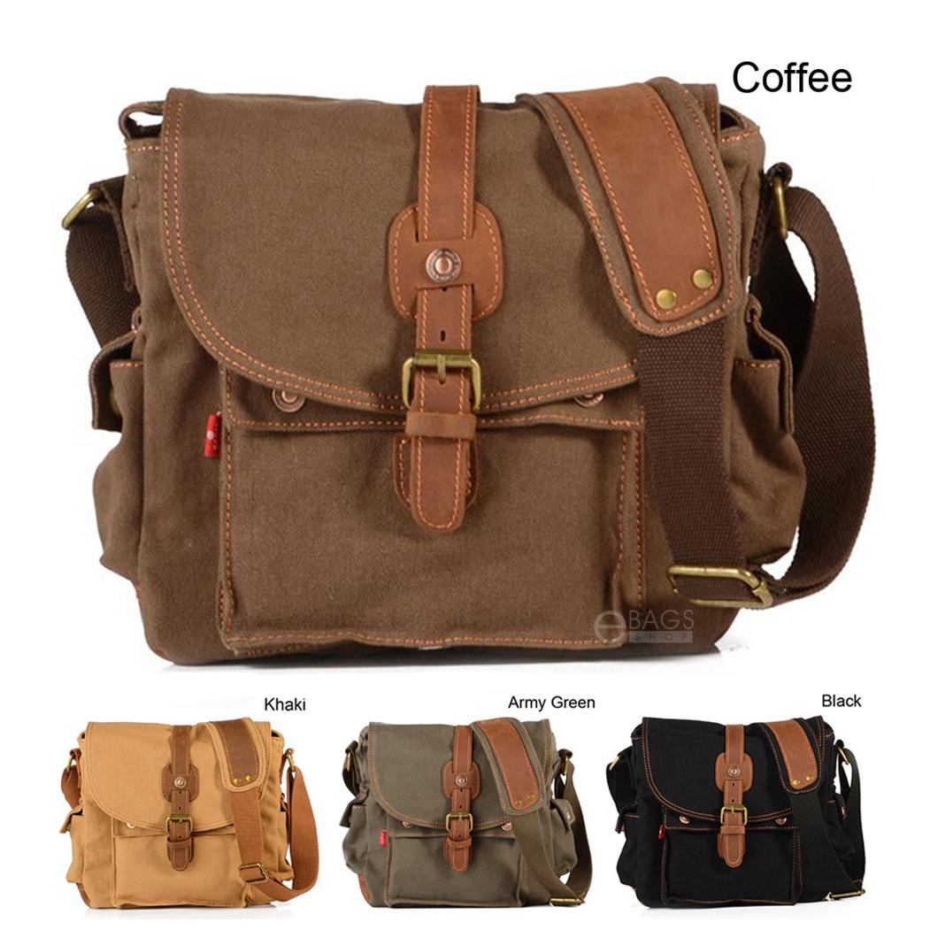 Details about Vintage Canvas Leather Cross-Body Satchel School Military  Shoulder Messenger Bag 35d2a78c96