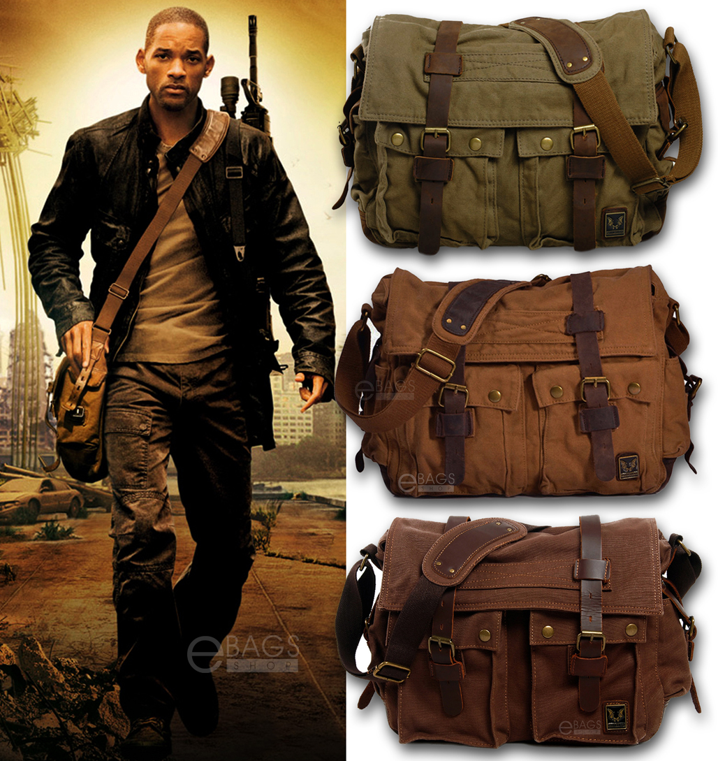 Details about Men s Vintage Canvas Leather Military X-Large 15 Laptop  Shoulder Messenger Bag 8bc0908cd207c