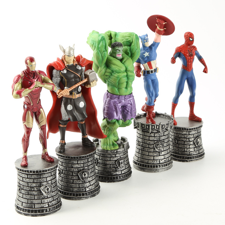 Avengers Captain America Statue Action Figure Chess Piece Collection Toy