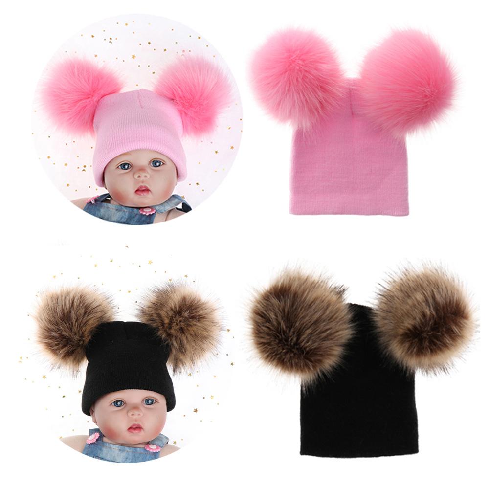 Double Balls Pom Pom Baby Cute Hat Fur Ball Cap Girls Boy Knitted Hats Caps
