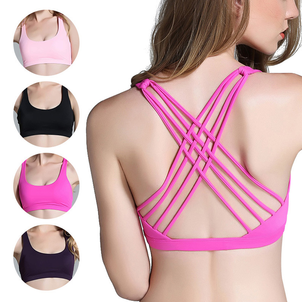 Fashion Women/'s Light Support Cross Strappy Open Back Cotton Yoga Sports Bra
