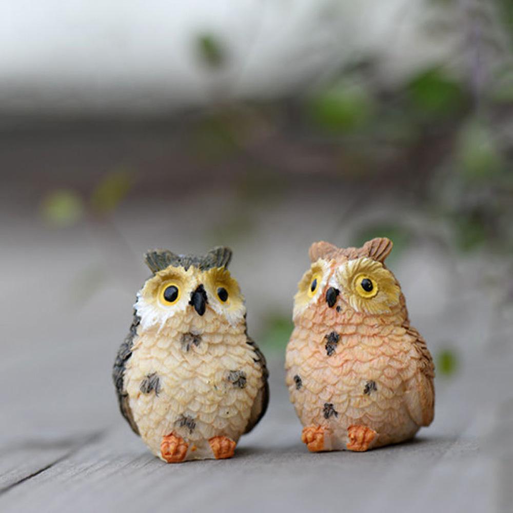 Yuehuam Fairy Garden Ornaments Owl Resin Landscape Doll Miniature Owls Bonsai Dollhouse Decoration or Home Garden DIY Decor