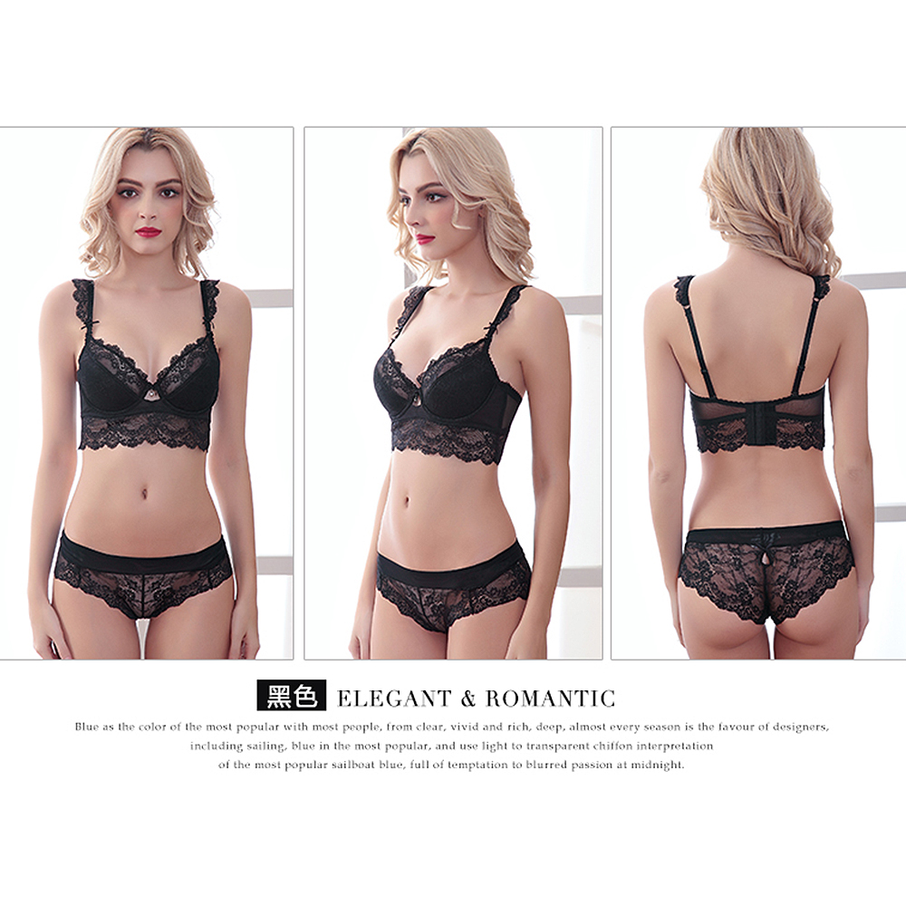c3df0f742c4a Women Floral Sheer Lace Balcony Bra and Panties Lingerie Set Knicker ABCD  Cup