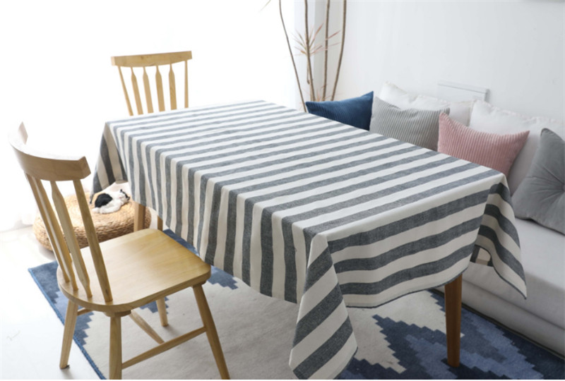 Details about Cotton Linen Gray Striped Tablecloth Dining Table Cover For  Kitchen Home Decor