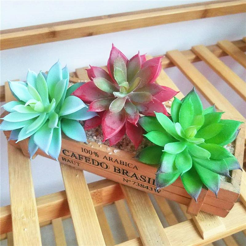 M23 12 Pcs Doll House Decor Miniature Artificial Succulents Lotus Stone