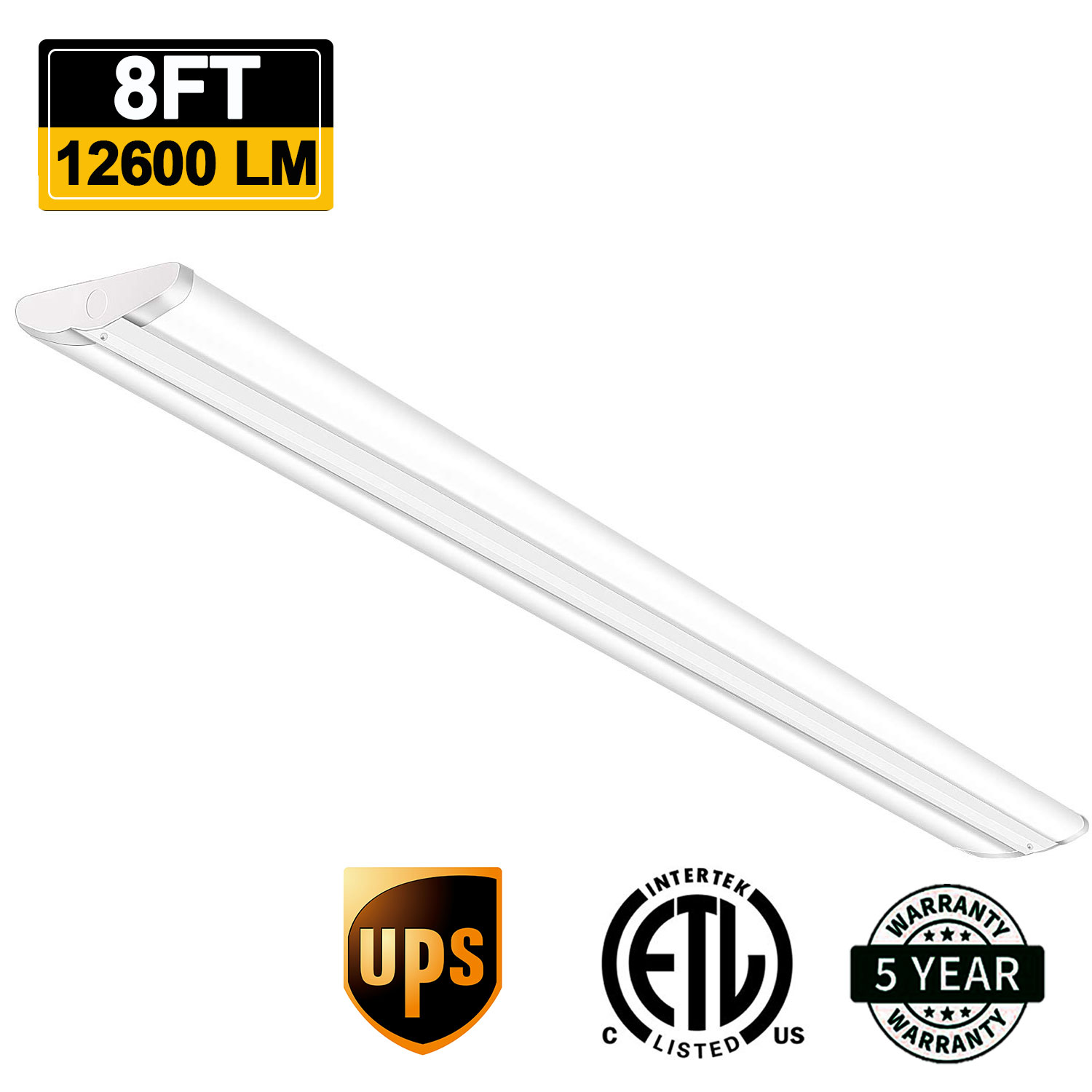 8 Ft 2 Lamp Fluorescent Strip Light White No Ssf2964wp 8ft: 110W LED Wrap Light 8FT Flush Mount Office Ceiling
