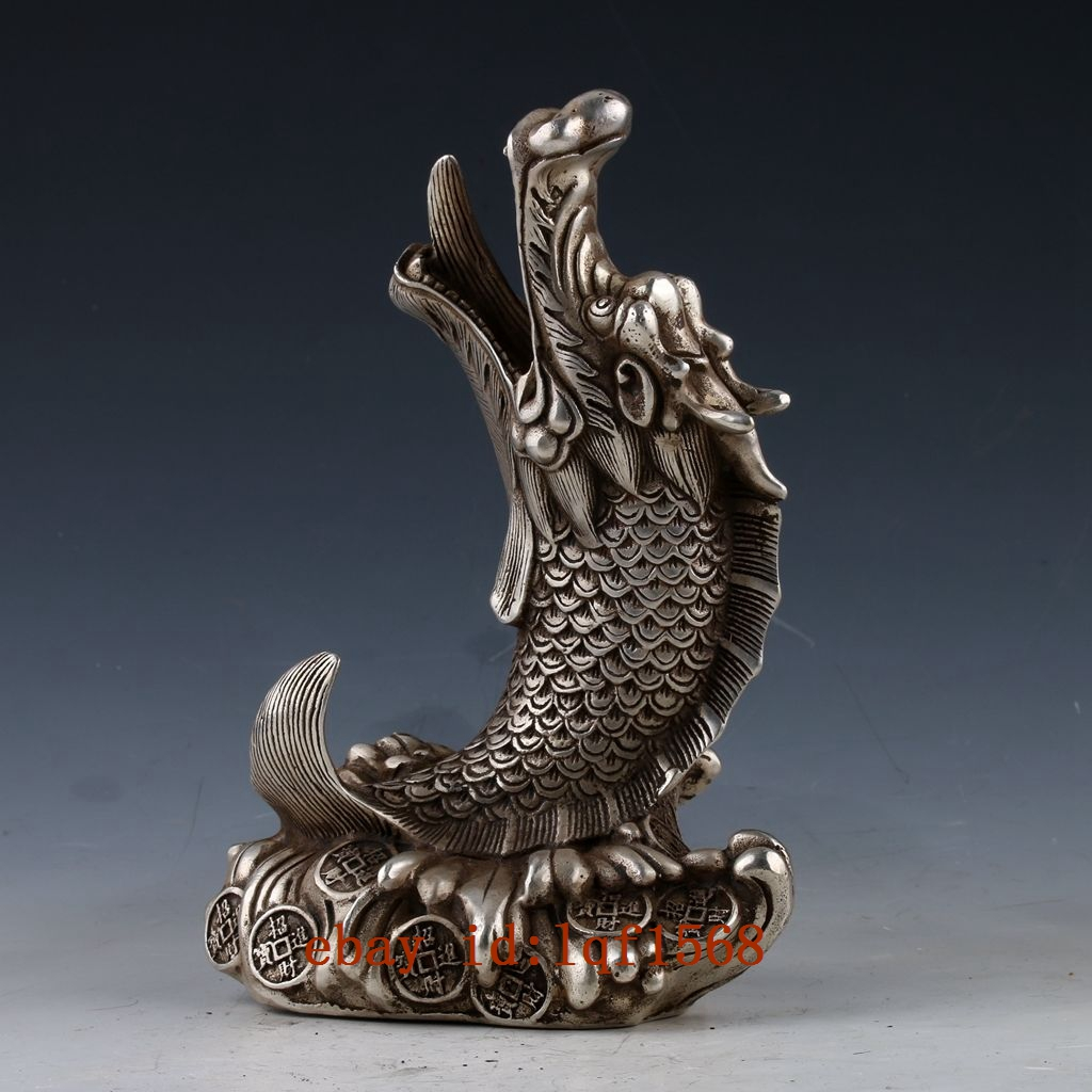Collectible Decorated Handwork Miao Silver Carved Dragon Smoking Pipe