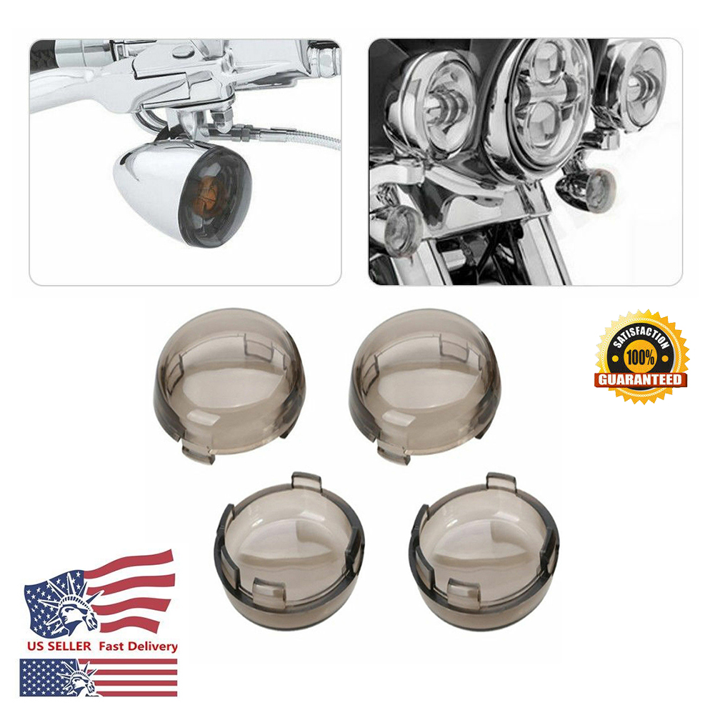4x Red Turn Signal Light Cover Lens Motorcycle For Harley Sportster Street Glide