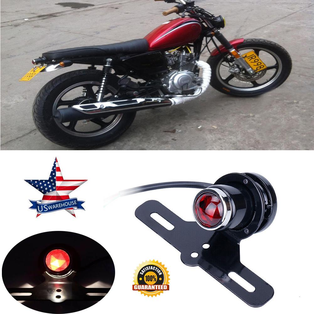 12V Motorcycle Red Rear Tail Brake Stop Light Lamp for Cafe Racer Chopper Bobber