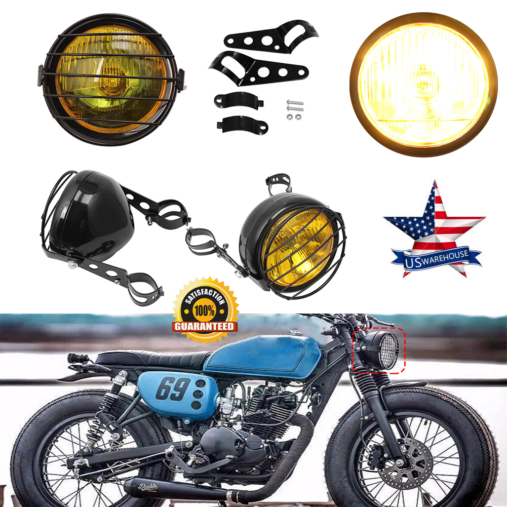 6 5 Retro Motorcycle Headlight Grill Side Mount Cover Bracket Cafe Racer Usa Bt Ebay