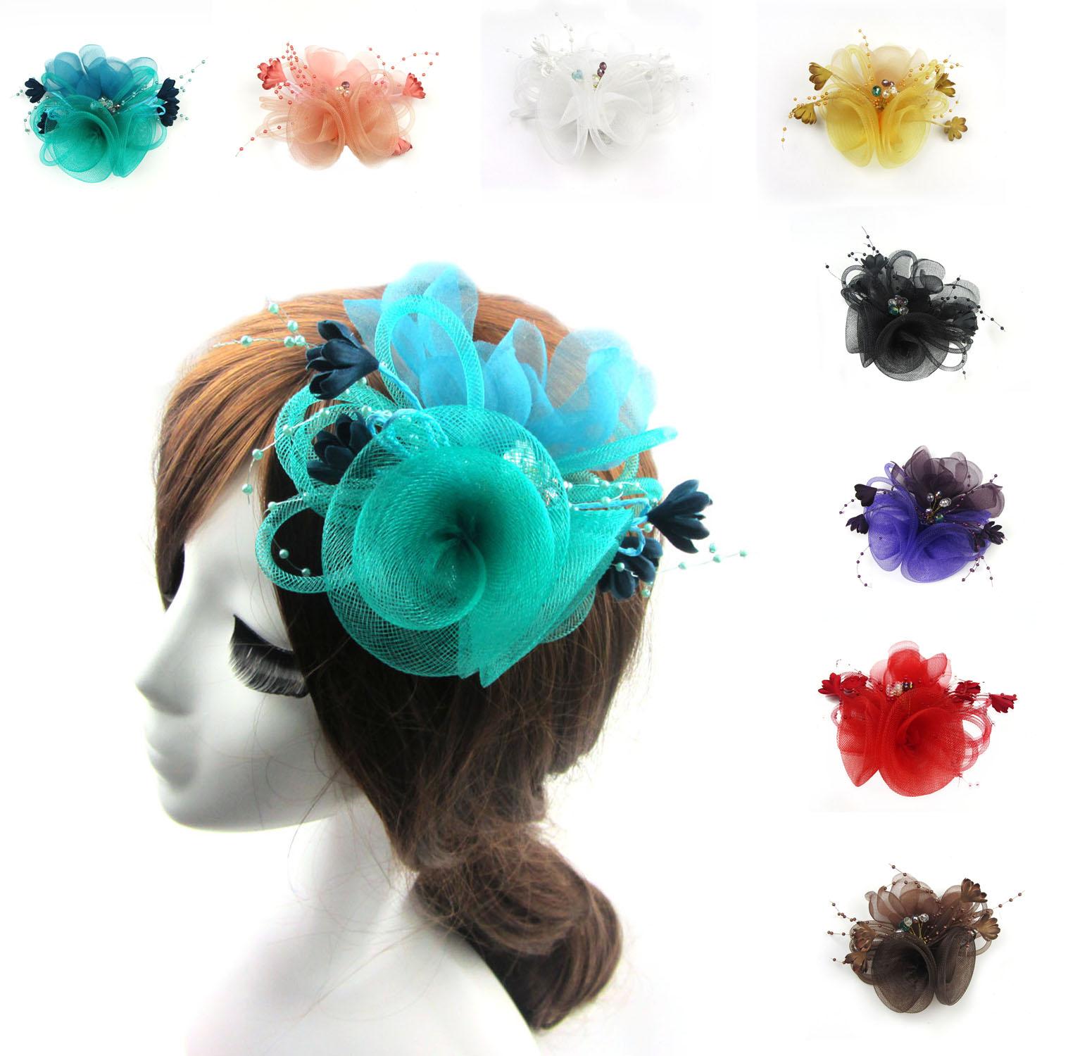 Lake Blue Net Fascinator Headdress Flower Brooch Clip Bride Races Cocktail Party