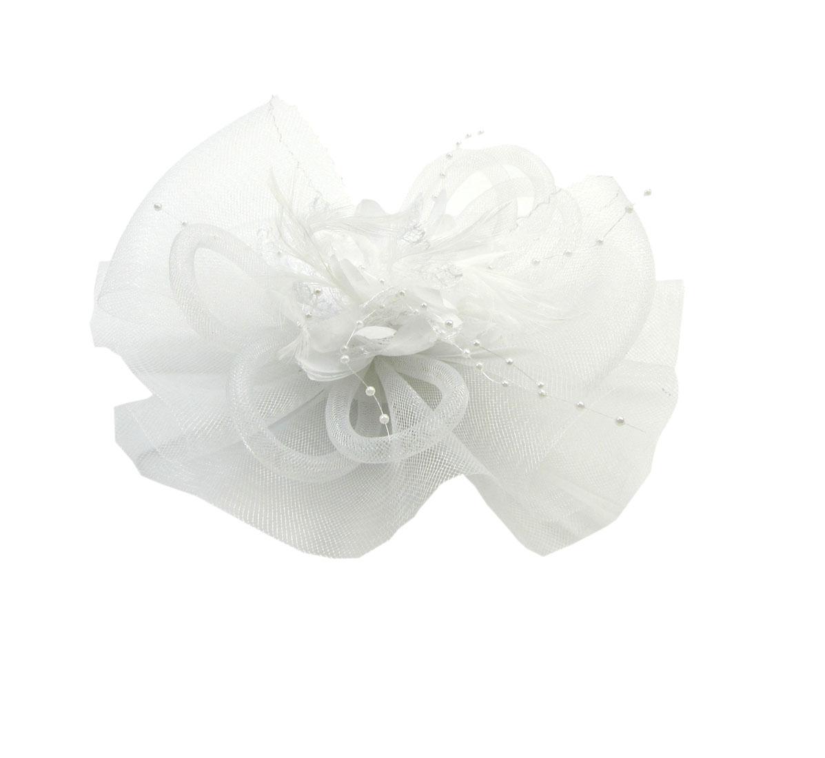 White Net Veil Flower Fascinator Feather Headdress Hair Clip Wedding