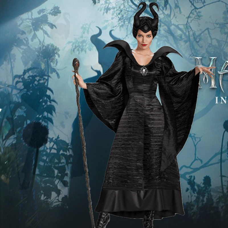 Details About 2019 New Adult Women Deluxe Plus Size Maleficent Christening Black Gown Costume