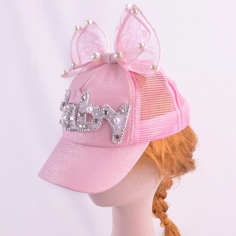 Baby Girl Princess Big Bow Pearl Mesh Baseball Cap Summer Shiny Snapback Sun Hat