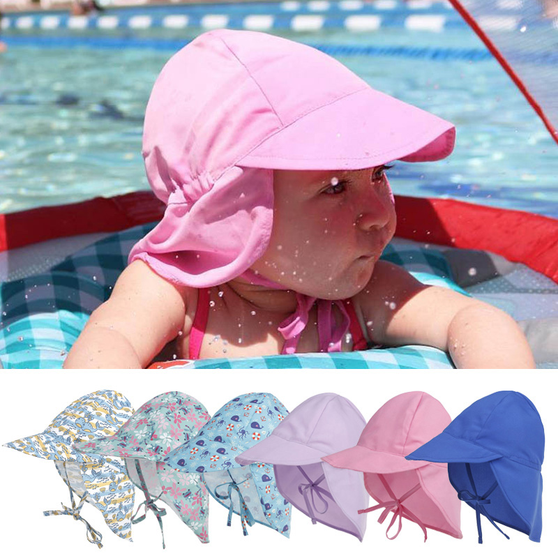 Summer Baby Boy Girl Hat Sun Beach Hats Neck Ear Cover Anti UV Caps Outdoor New