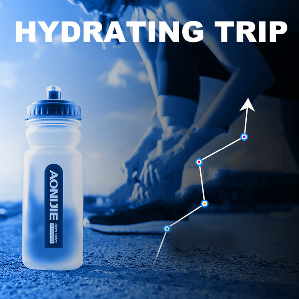 Aonijie 600ml Outdoor Running Riding Water Bottle Kettle Non-Toxic Without BPA