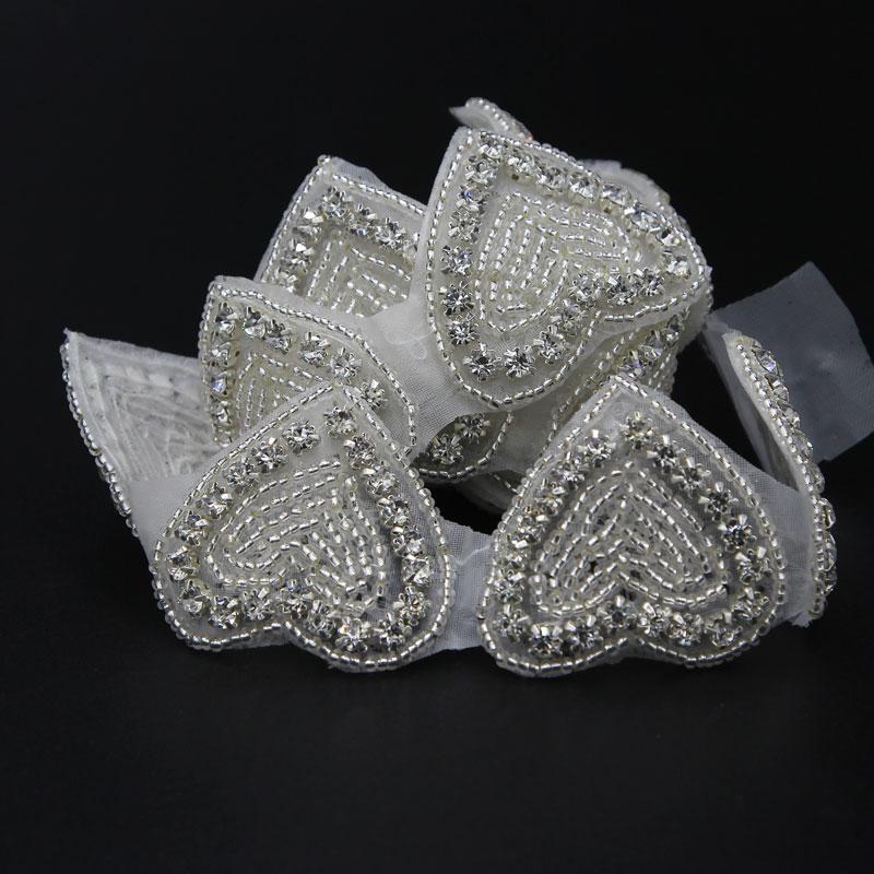 1 Yard HERZ Form Silber Strass Bänder Kette Verzieren Nähen Kleidung Rheinkiesel