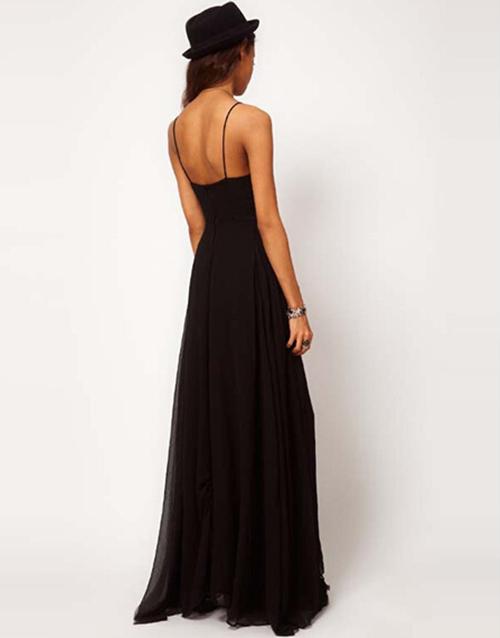 8226a3cae1b Women Sexy Summer Black Slim Long Dress Evening Party Beach Slip Dress  Charming