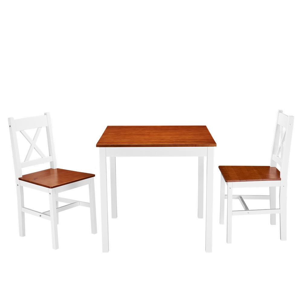 esstisch tischgruppe essgruppe set mit 2 st hle wei land massiv holz esszimmer ebay. Black Bedroom Furniture Sets. Home Design Ideas